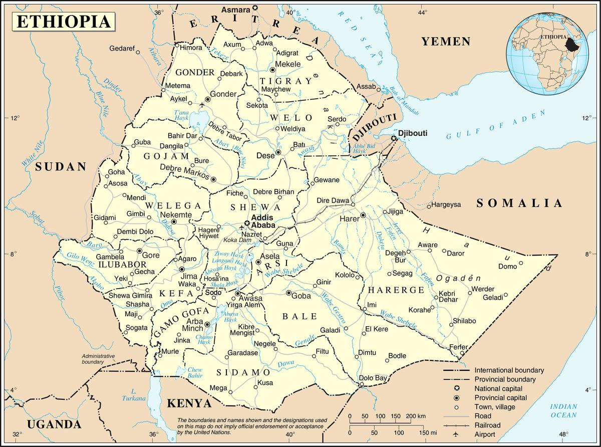 Current Ethiopian Map Current Map Of Ethiopia Eastern Africa