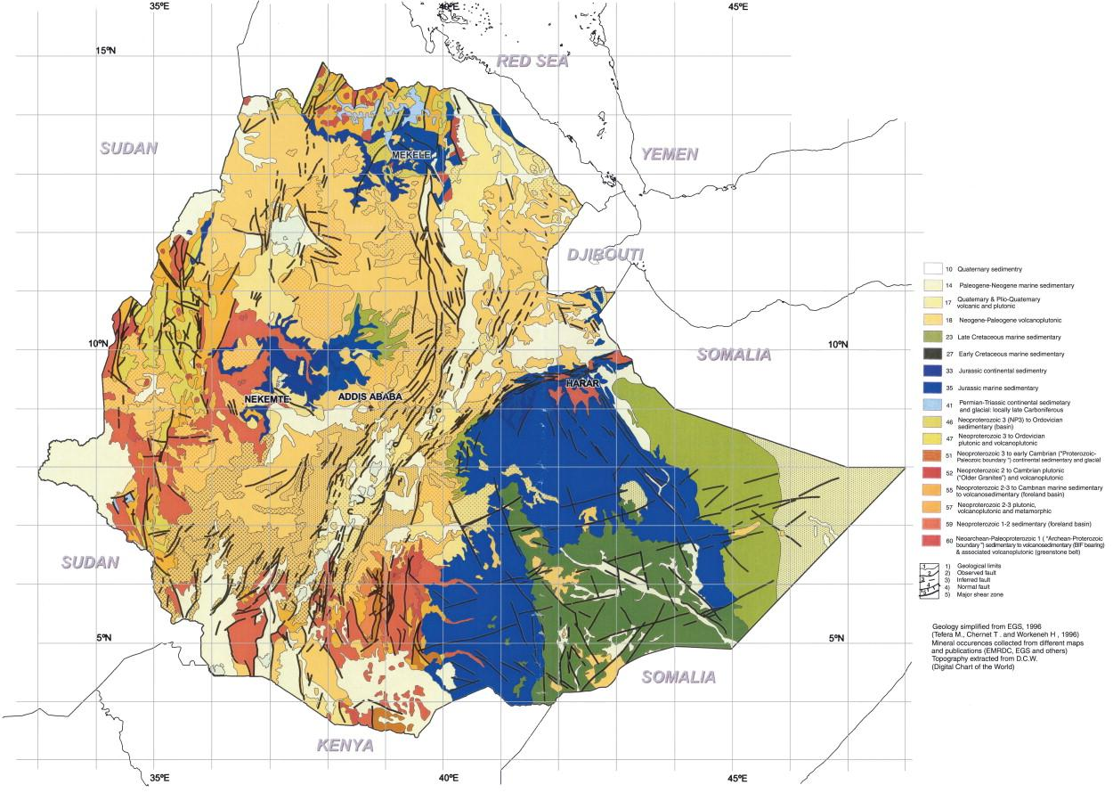 Geological map of Ethiopia - Map of geological map of ...