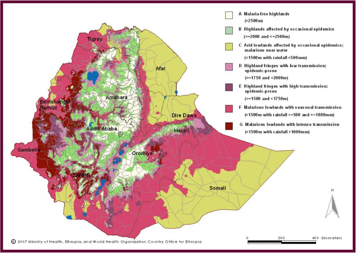 map of Ethiopia malaria