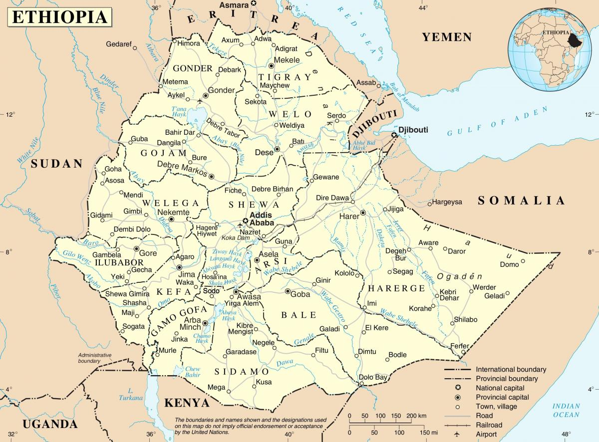 map in Ethiopia