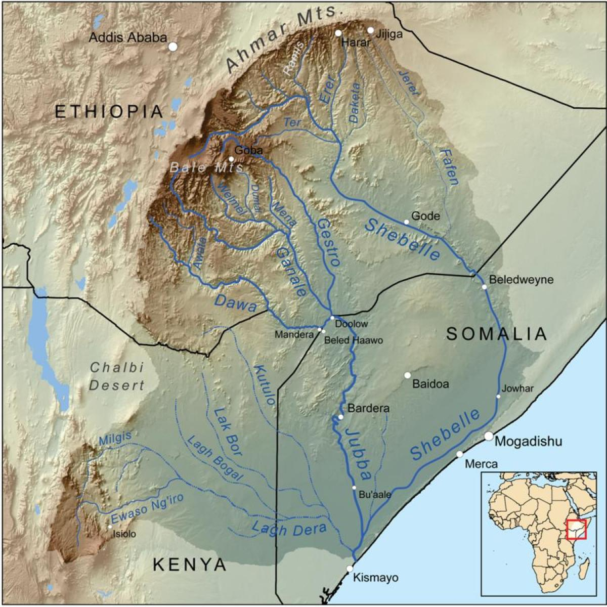 Ethiopian river basins map