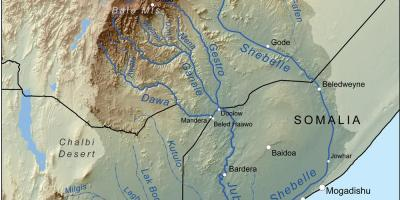 Map of Ethiopian rivers